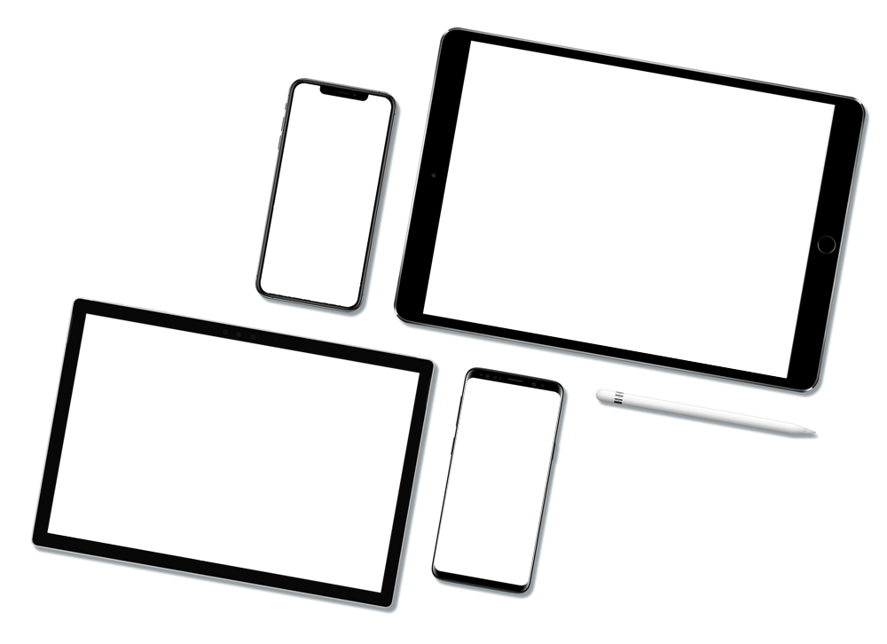 Facebook, YouTube, Instagram and Twitter logos on mobile and tablet devices